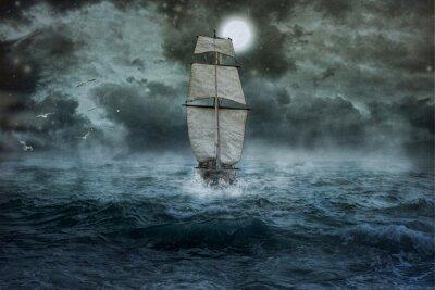 Canvas print Schiff, Meer, Ozean, blau, Wolken, Wasser, Segel, Sturm