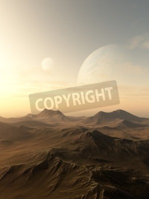 Canvas print Science fiction illustration of planets rising over the horizon of a desolate alien world, 3d digitally rendered illustration