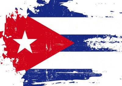 Canvas print Scratched Cuban Flag