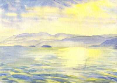 Canvas print Sea and mountains. Landscape. Watercolor painting