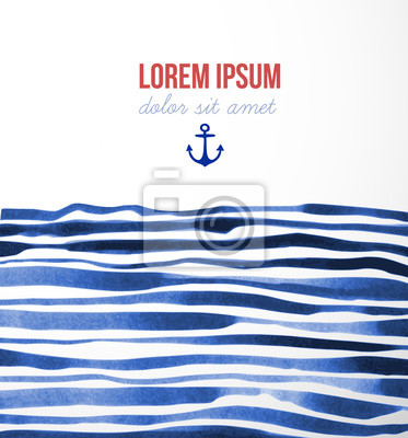 Sea background with blue wave stripes and place for your text