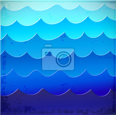Canvas print Sea background with blue waves