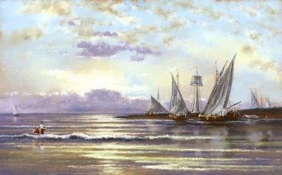 Canvas print Sea landscape, fisherman, oil digital paintings