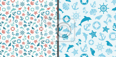 sea pattern with sea marine signs - dolphins, anchors, shells