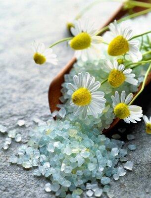Canvas print sea salt with herbs