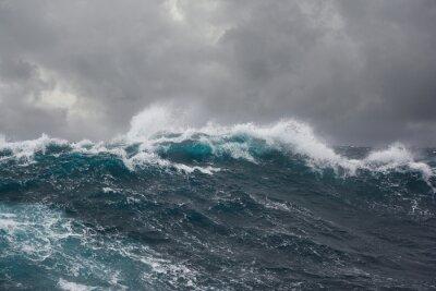 Canvas print sea wave during storm in atlantic ocean
