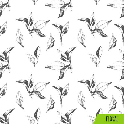 Canvas print Seamless background of leaves. Sketch style.