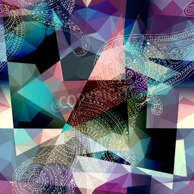 Canvas print Seamless background pattern.  Imitation of Cubism Style Painting.