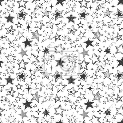 Seamless background with doodle stars