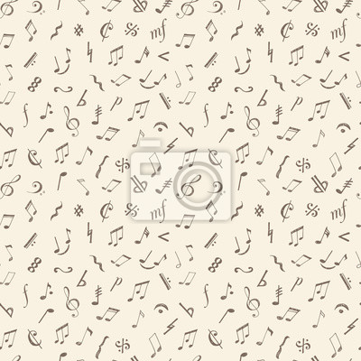 Seamless background with music notes and signs