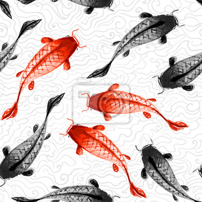 Canvas print Seamless background with red and black koi carps
