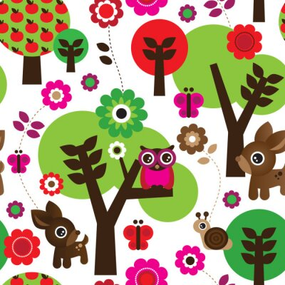 Canvas print Seamless farm owl tree animal pattern in vector