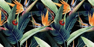 Canvas print Seamless floral pattern with tropical leaves and strelitzia on red background. Template design for textiles, interior, clothes, wallpaper. Watercolor illustration