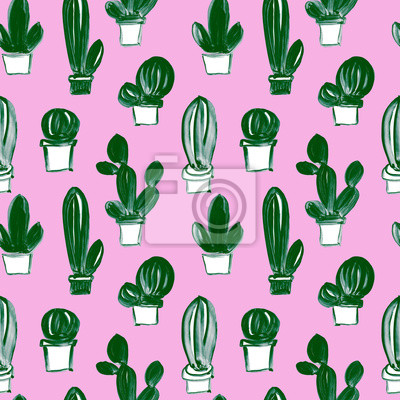 Seamless hand drawn artistic pattern with cacti in naive childlike style on pink background. Gouache and watercolor painting of succulent plants.