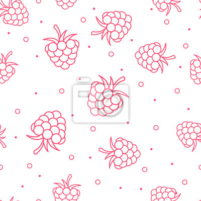 Seamless ornament with raspberries in a linear fashion