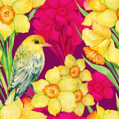 Canvas print seamless pattern .Illustration watercolor,flowers,wildflowers ,Narcissus and bird Oriole