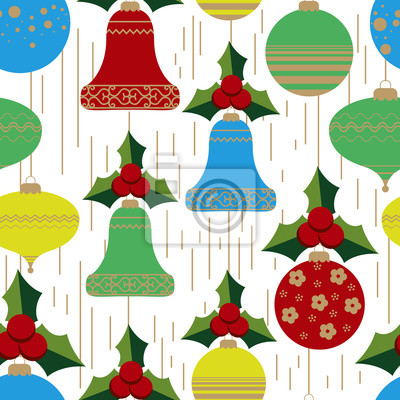 Seamless pattern of Christmas balls and bells with Holly