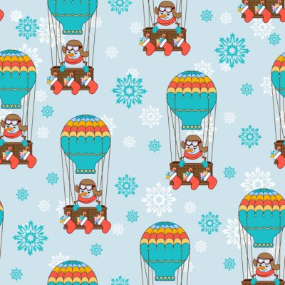 Seamless pattern Snowman balloon with Christmas gifts. Vector