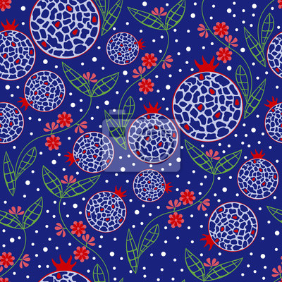 Seamless pattern stylized flowers, fruits and leaves of pomegranate on blue background