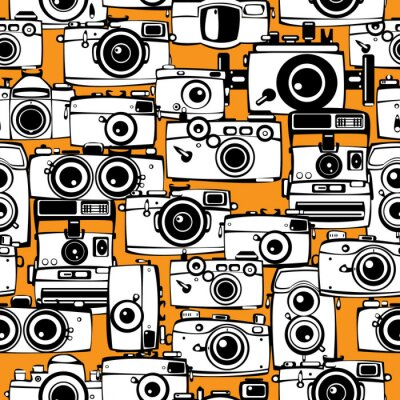 Canvas print seamless pattern vintage film photo cameras