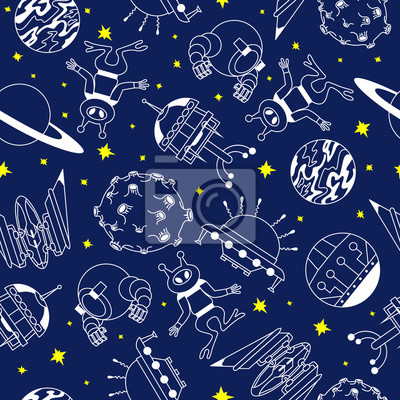 Canvas print Seamless pattern with aliens, Moon, Saturn, Venus and space ship