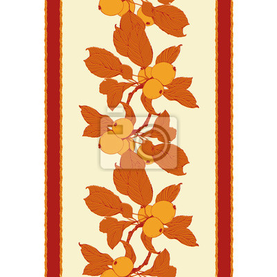 Seamless pattern with apple tree branch