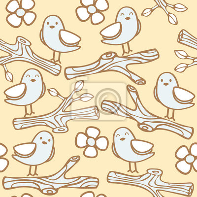 Seamless Pattern With Bird On Branch