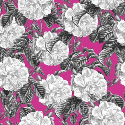Seamless pattern with black and white roses on the pink background. Wild Flowers in Vintage Style. Botanic Tile. For design textiles, paper, wallpaper.