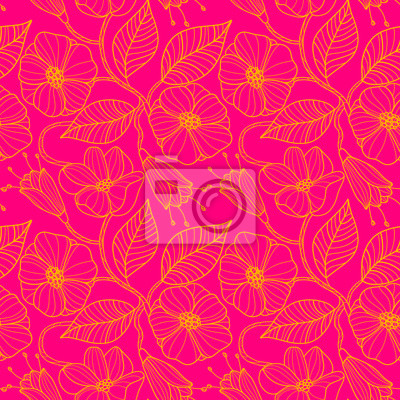 Seamless pattern with blossoming cherry branches. Branches with
