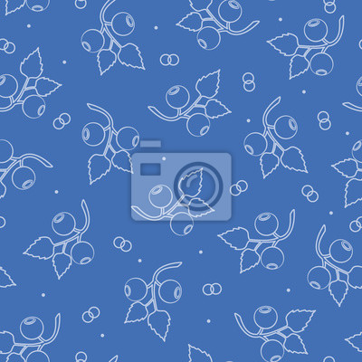 Seamless pattern with blueberries. Vector