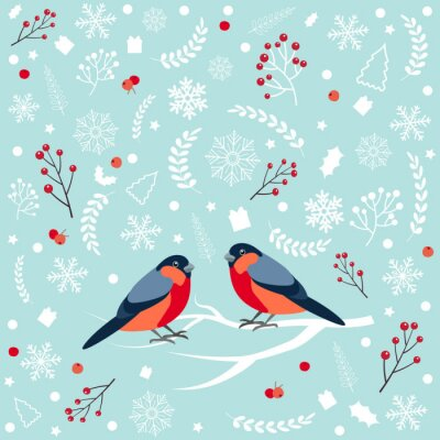 Seamless pattern with bullfinch sitting on snow-covered branch of mountain ash. Christmas and New Year design greeting cards. Vector illustration.