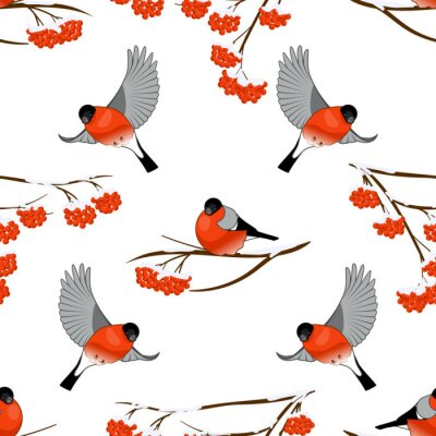 Seamless pattern with bullfinches and branch of rowan, vector illustration.