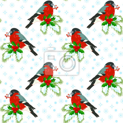Seamless pattern with bullfinches sitting on a branch of fir, decorated with a wreath of holly.