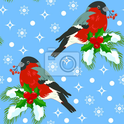 Seamless pattern with bullfinches sitting on a branch of fir, decorated with a wreath of holly on a blue background.