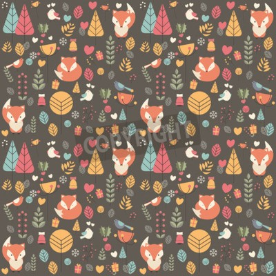 Canvas print Seamless pattern with cute Christmas baby fox surrounded with floral decoration, vector illustration