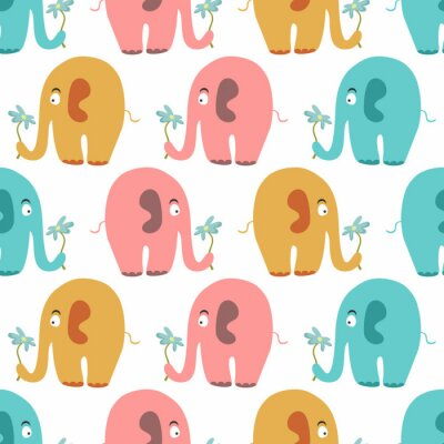 Canvas print Seamless pattern with cute colorful animals