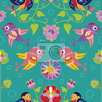 Canvas print Seamless pattern with decorative birds and flowers