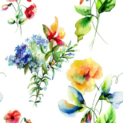 Canvas print Seamless pattern with Decorative summer flowers