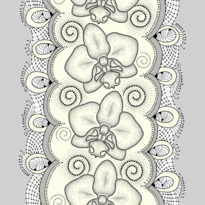 Canvas print Seamless pattern with dotted moth Orchid or Phalaenopsis, swirls and decorative lace on the light yellow background. Floral background in dotwork style.