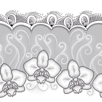 Canvas print Seamless pattern with dotted moth Orchid or Phalaenopsis, white swirls and decorative lace on the gray background. Floral background in dotwork style.