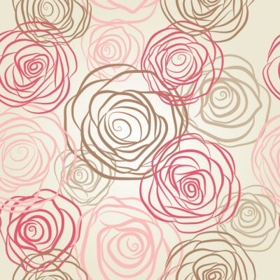 Canvas print Seamless pattern with flowers roses vector