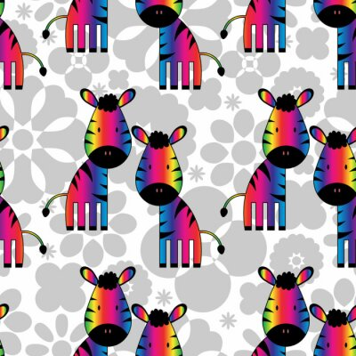 Canvas print Seamless pattern with funny rainbow zebras