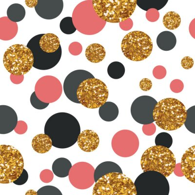 Canvas print Seamless pattern with golden glitter dots.