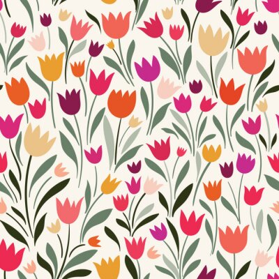 Canvas print Seamless pattern with hand drawn tulips