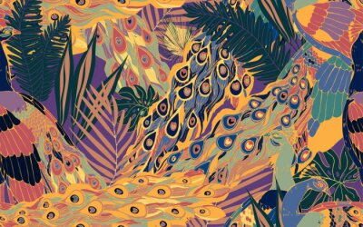 Canvas print Seamless pattern with large blue-green peacock tails and leaves of tropical palm trees.