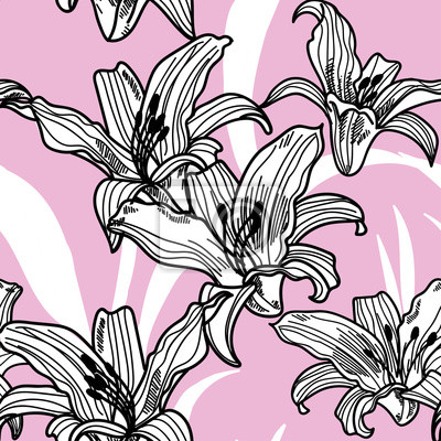 Seamless pattern with lilies . Vector freehand drawing . Tropical plants and flowers.  Texture watercolor paint.