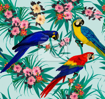 Seamless pattern with macaws sitting on branches. Hand drawn