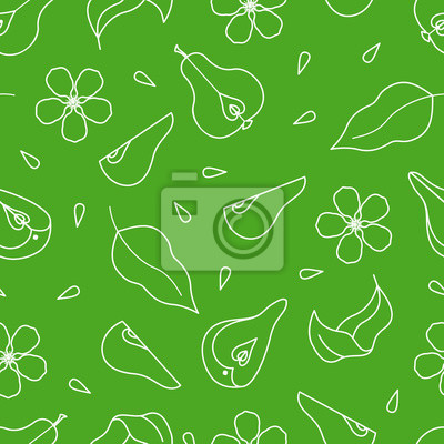 Seamless pattern with pear, flower, leaves, and slices