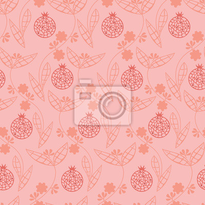 Seamless pattern with pomegranate seeds and branches with leaves and flowers. Vector
