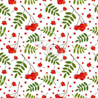 Seamless pattern with red and orange Rowan berries